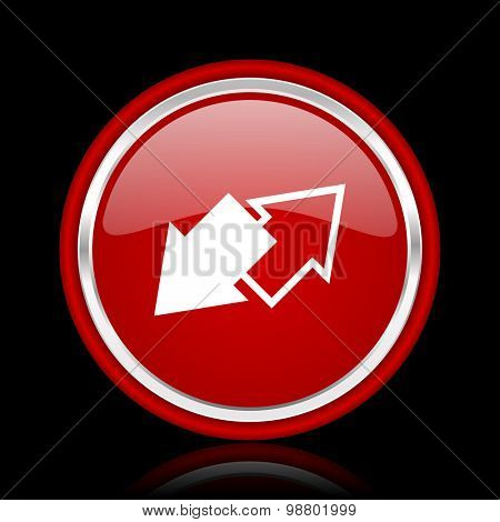 exchange red glossy web icon chrome design on black background with reflection