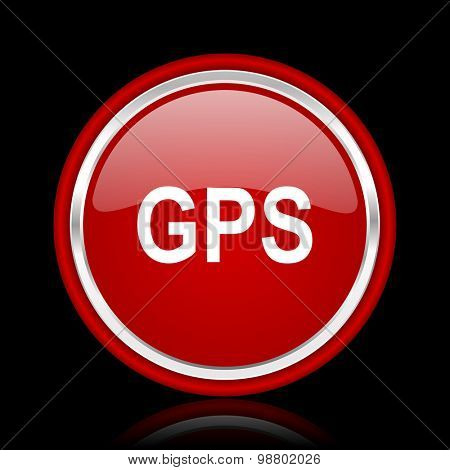 gps red glossy web icon chrome design on black background with reflection