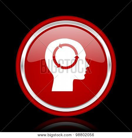 head red glossy web icon chrome design on black background with reflection