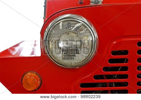 Headlight Of Old Vintage Classic Car