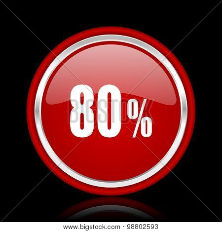 80 percent red glossy web icon chrome design on black background with reflection