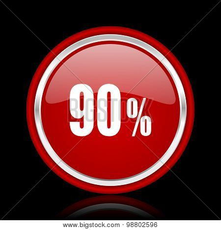 90 percent red glossy web icon chrome design on black background with reflection