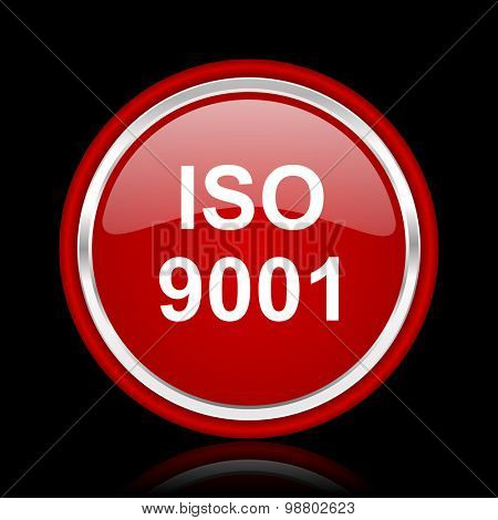 iso 9001 red glossy web icon chrome design on black background with reflection