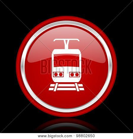 train red glossy web icon chrome design on black background with reflection