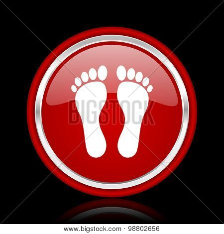 foot red glossy web icon chrome design on black background with reflection
