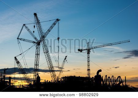 Silhouette Construction Industry Oil Rig Refinery Working Site