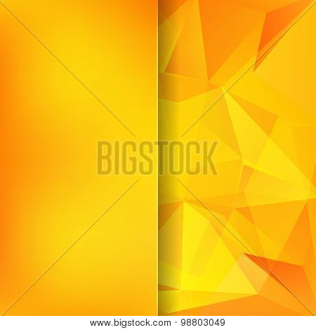 Abstract Background Consisting Of Yellow, Orange Triangles And Matt Glass
