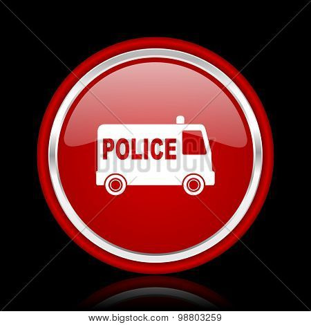 police red glossy web icon chrome design on black background with reflection