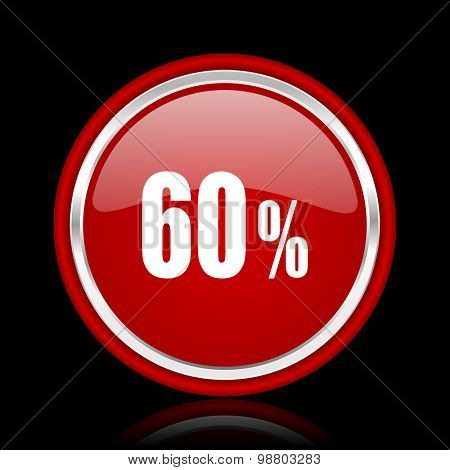 60 percent red glossy web icon chrome design on black background with reflection