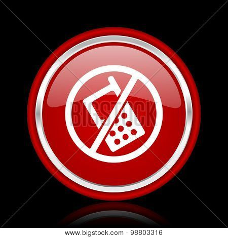 no phone red glossy web icon chrome design on black background with reflection
