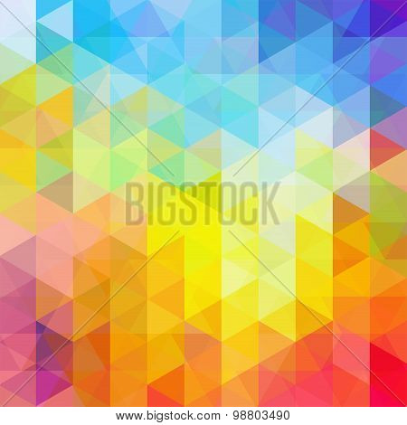 Abstract Background Consisting Of Rainbow-colored Triangles