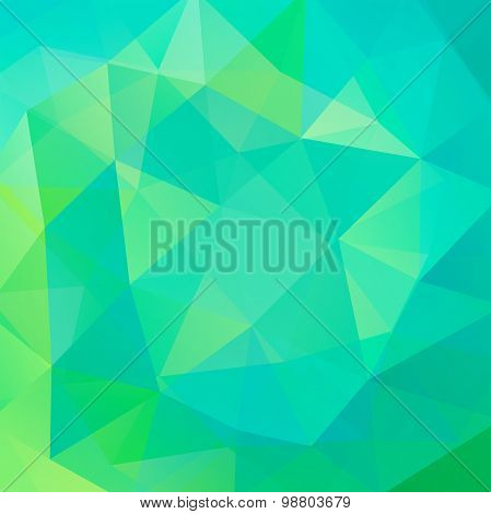 Abstract Background Consisting Of Green, Blue Triangles