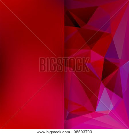 Abstract Background Consisting Of Red, Pink, Purple Triangles And Matt  Glass