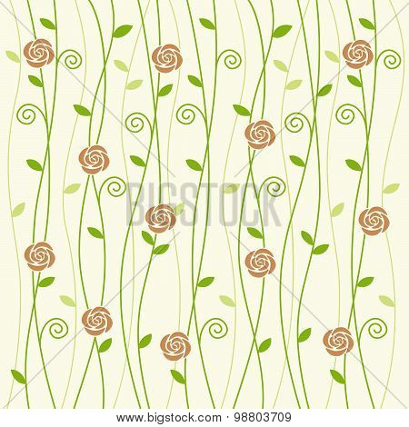 Rose And Vine Background Pattern