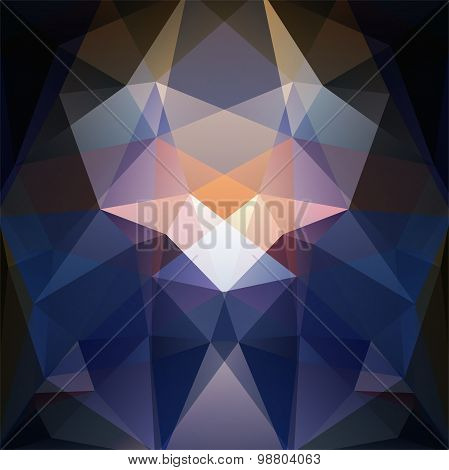 Abstract Background Consisting Of Blue, Black White, Orange Triangles