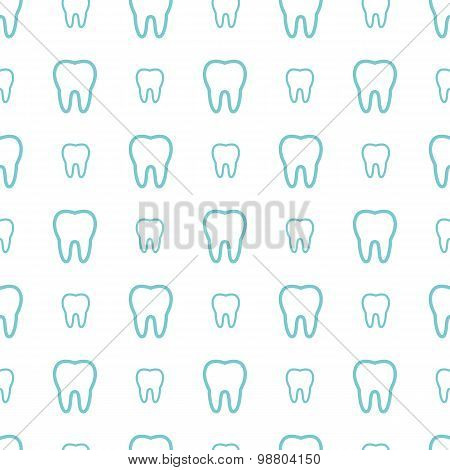 Teeth On White Background. Vector Dental Seamless Pattern.