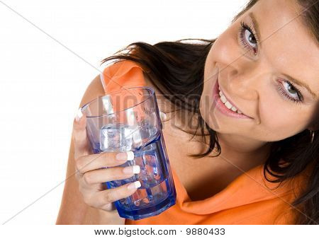 Woman drinking healthy mineral water