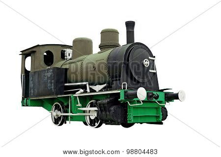Old Steam Engine Locomotive Train Isolated On White