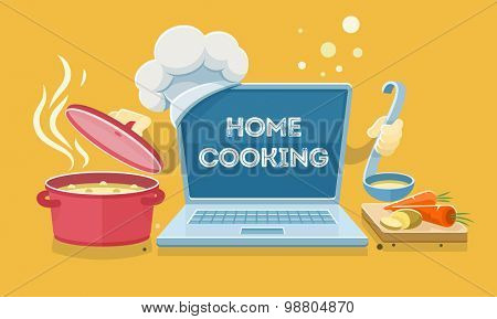 Home food cooking online recipes with laptop. Flat eps10 vector illustration