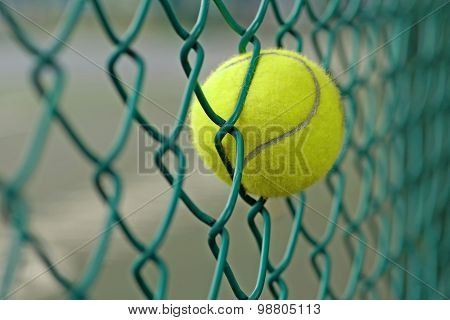 Tennis Ball In The Chainlink Behind Court