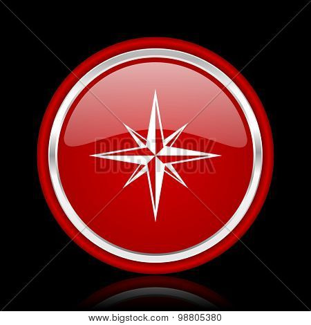 compass red glossy web icon chrome design on black background with reflection