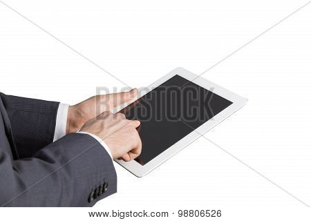 Close-up Of Side View Of A Businessman's Hands. Browsing In The Internet. Isolated.