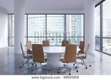 Panoramic Conference Room In Modern Office In Moscow, Russia. Brown Chairs And A White Round Table.