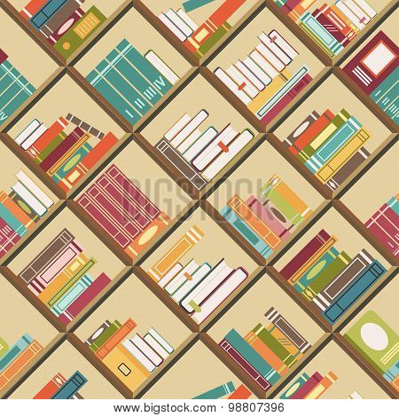 Bookshelf with books. Seamless background