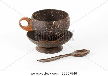 Coconut Peel Wooden Cup Of Coffee And Spoon
