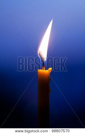 Closeup Of Burning Candle