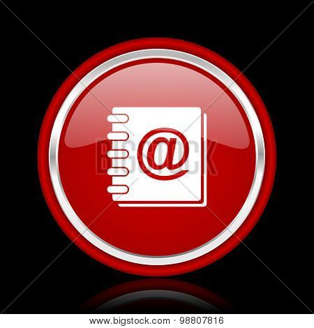 address book red glossy web icon chrome design on black background with reflection