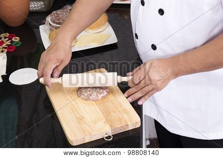 Chef Making Hamburger Patty