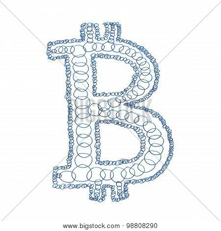 Chain Bitcoin Hand-drawn Symbol