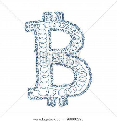 Chain Bitcoin Hand-drawn Symbol