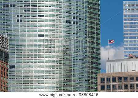 Skyscraper Detail With Us Flag
