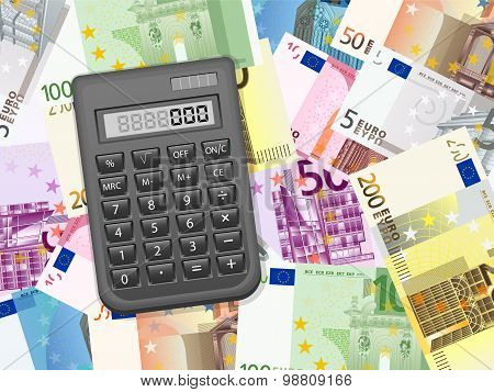 Calculator On Euros Background