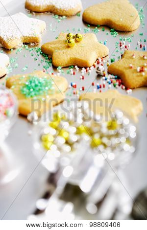 Chrismas Cookies Decorated With Hundreds And Thousands