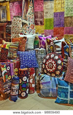 Turkish traditional cushions on grand bazaar Istanbul