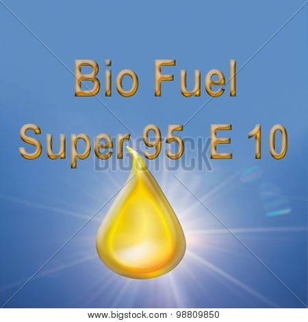 Biofuel Drop With Text Against Blue Background