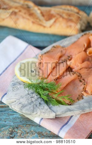 Close Up Of Marinated Cold Cuts Of Salmon