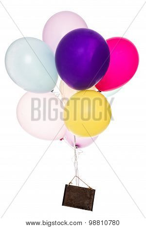 Colorful Balloons, Old Sign, Copy Space