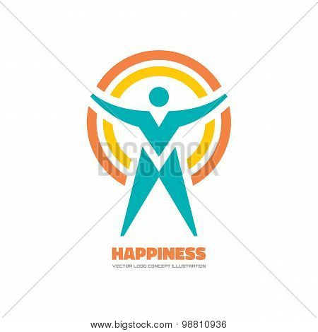 Happiness - vector logo concept illustration. Human character logo. People logo. Man logo.