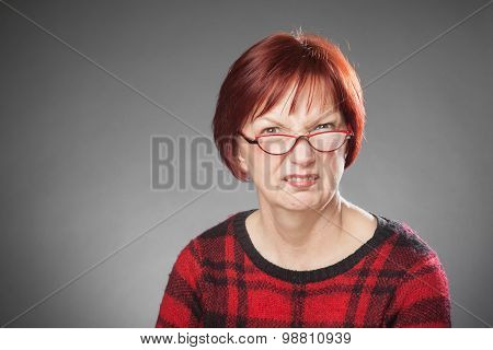 Red-haired Woman, Portrait, Facial Expression, Citical, Wrinkling Nose