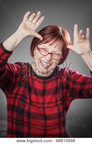 Red-haired Woman, Portrait, Messing Around, Sticking Out The Tongue