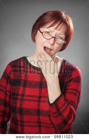 Red-haired Woman, Portrait, Facial Expression, Yawning