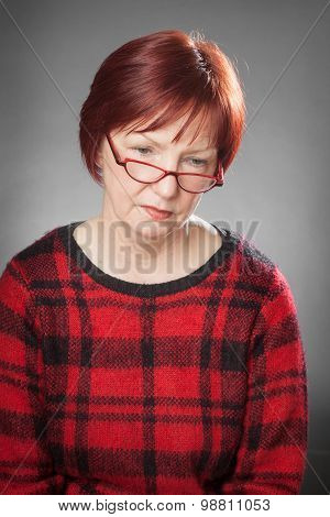 Red-haired Woman, Portrait, Facial Expression, Looking Down, Hopeless