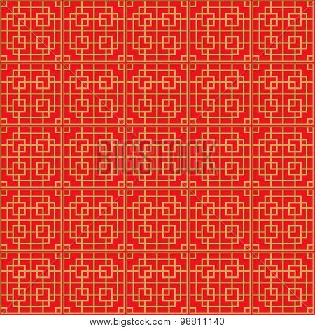 Seamless Chinese window tracery lattice square geometry pattern background.