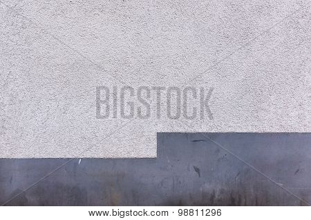 Outside Wall, Aged Stucco Plaster And Gray Foundation, Texture Background
