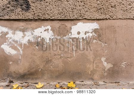 Decayed Outside Wall, Brown Foundation With White Color Splashes