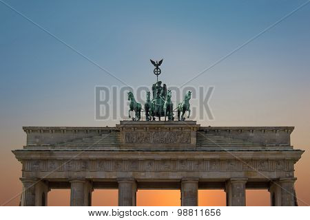 top of brandenburg gate - brandenburger tor, berlin germany